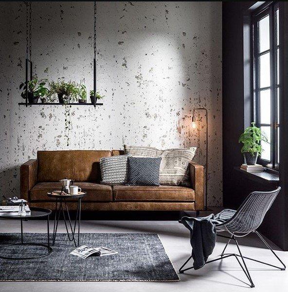 καφέ καναπές industrial σαλόνι μοντέρνα σαλόνια