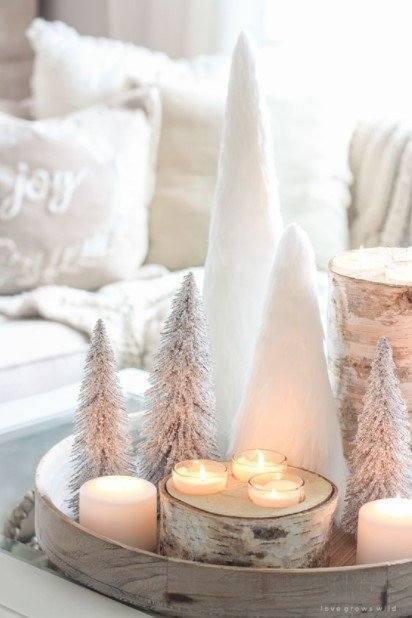 δίσκος δεντράκια κερια χριστουγεννιάτικη διακόσμηση σαλονιού