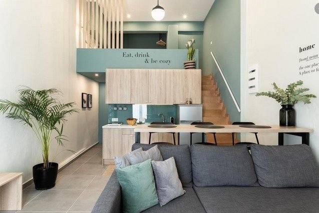 γκρι πρασινο loft διαμερισμα