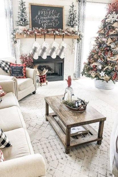 σαλόνι χριστουγεννιάτικο δέντρο καρό λεπτομέρειες