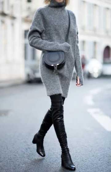 μάλλινο φόρεμα γκρι με ψηλές μπότες