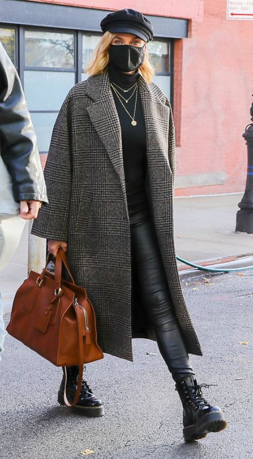 oversize παλτό με κολάν