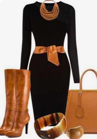 ταμπά μπότες με μαύρο φόρεμα και ταμπά αξεσουάρ
